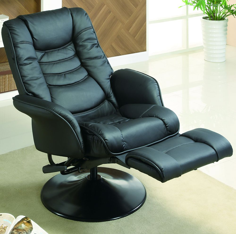 Euro style swivel chair with recline in black stargate for Sillon reclinable