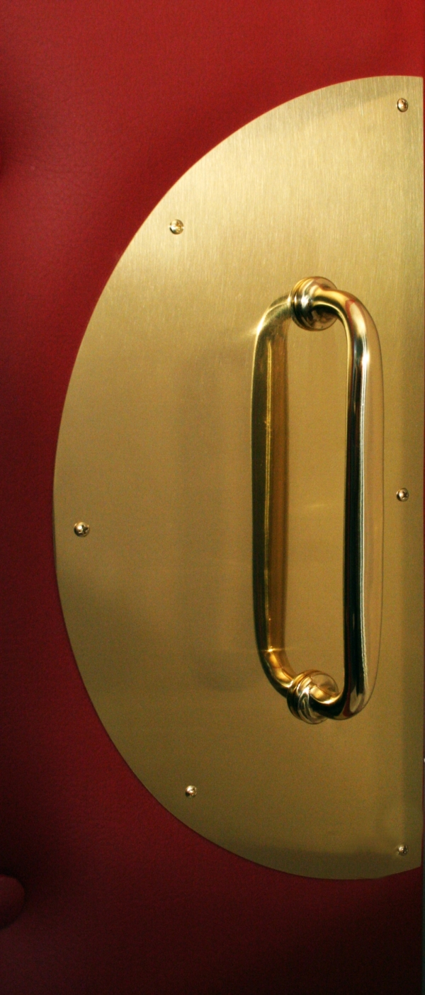 Home Theater Premium Upholstered Door Panel. Polished Brass Backplate U0026  Pull Handle