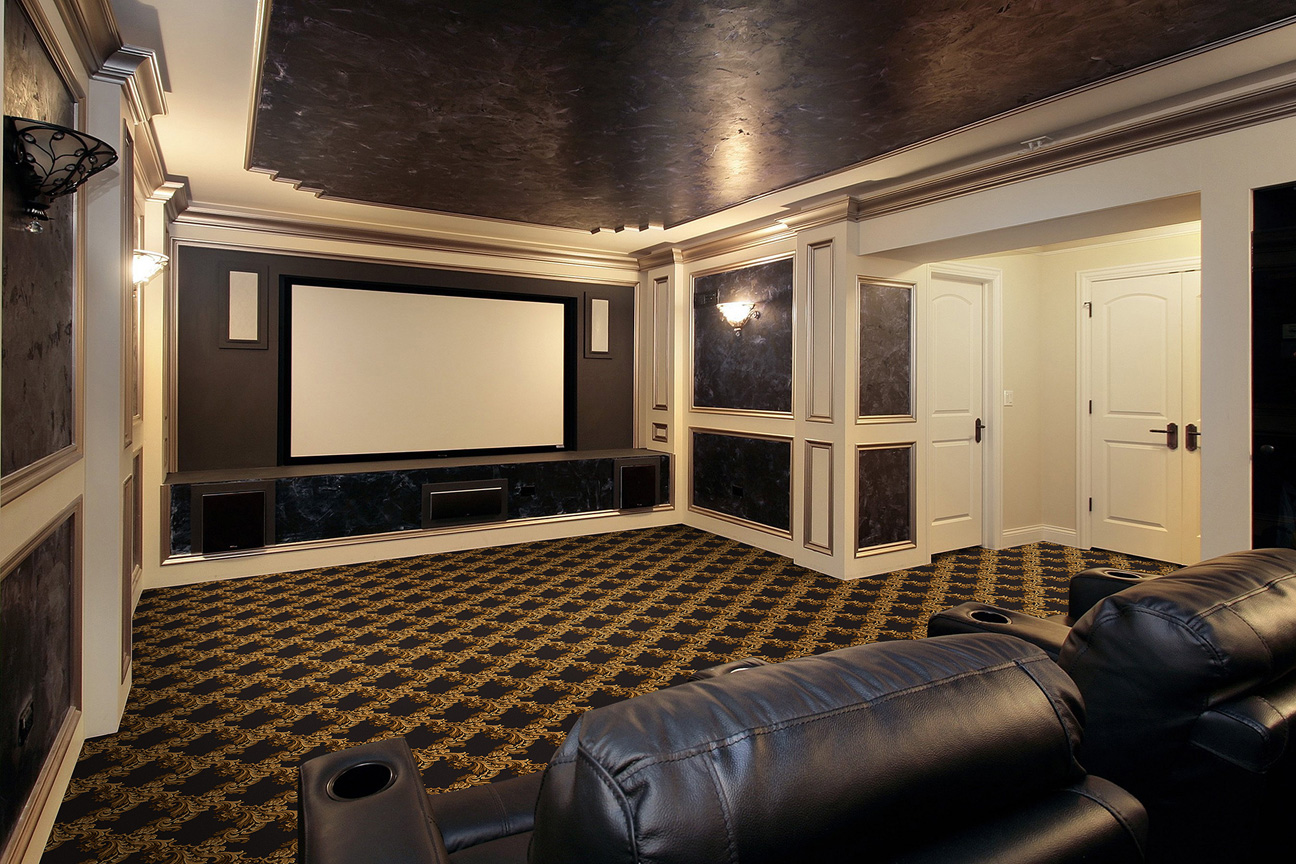 Corinth design home theater carpet stargate cinema - Home theater room design ideas ...