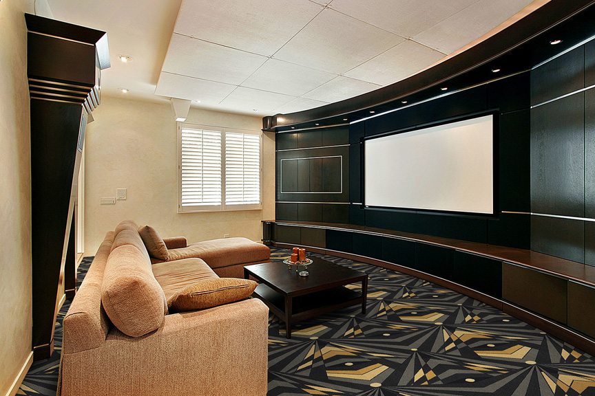 art deco strobe home theater carpet stargate cinema. Black Bedroom Furniture Sets. Home Design Ideas