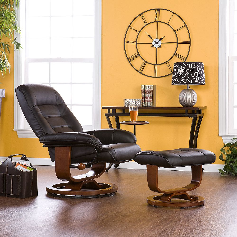 Strange Euro Style Recliner And Ottoman In Black Leather Stargate Gmtry Best Dining Table And Chair Ideas Images Gmtryco