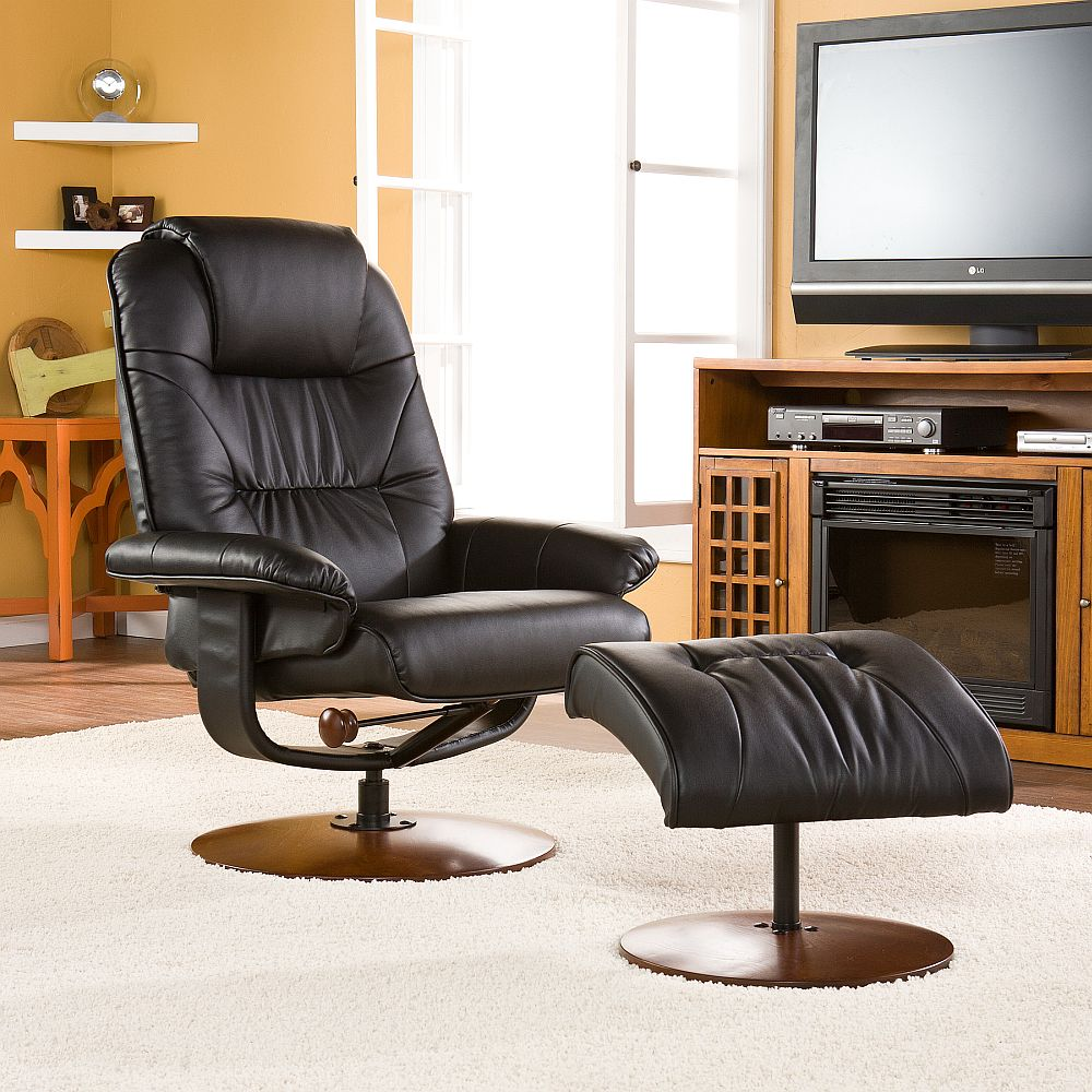 Stupendous Euro Style Recliner And Ottoman In Black Leather Stargate Cjindustries Chair Design For Home Cjindustriesco