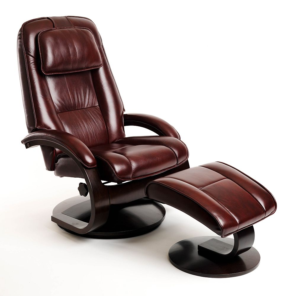 Pleasant Euro Recliner And Ottoman In Merlot Leather Model 52 Ibusinesslaw Wood Chair Design Ideas Ibusinesslaworg