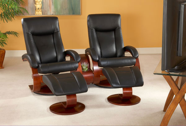 mac motion euro double recliner and ottoman set in black leather model 54b