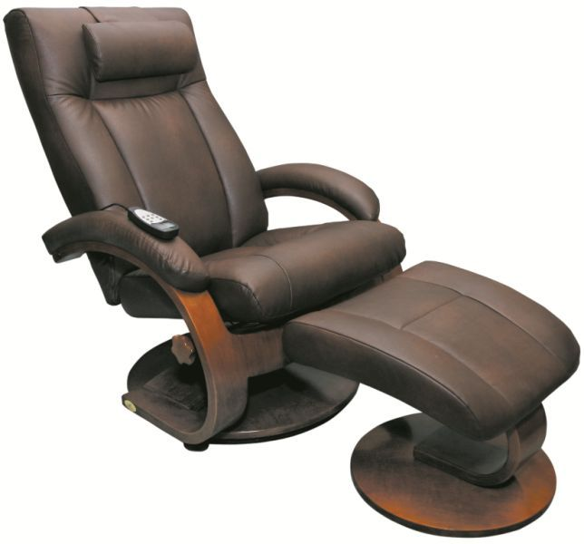 Mac Motion Oslo Euro Recliner And Ottoman With Massage In Hickory Brown  (Model 5400)