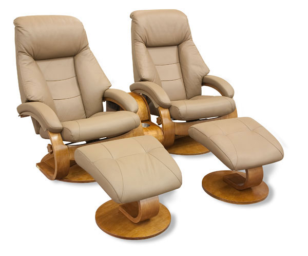 Mac Motion Double Euro Recliner And Ottoman Set In Sand Leather (Model 58)