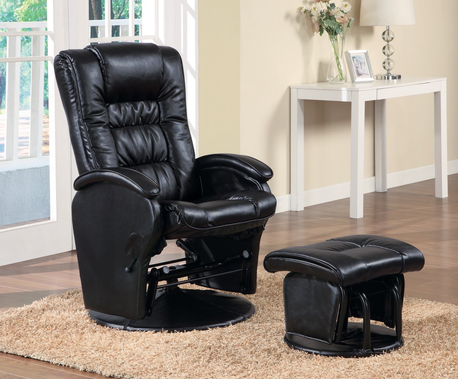 Cool Modern Style Swivel Glider Chair With Ottoman In Black Beatyapartments Chair Design Images Beatyapartmentscom