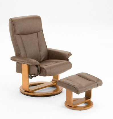 mac motion euro recliner and ottoman in brown polyurethane model