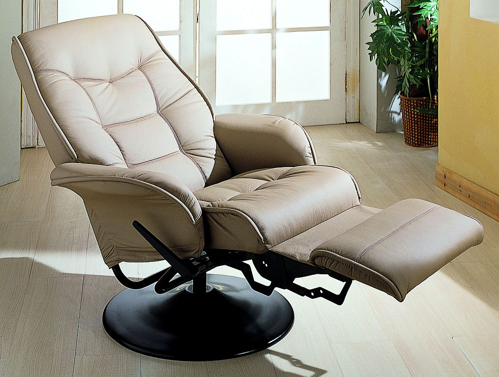 Coaster Euro Style Swivel Chair With Recline In Beige Model 7502