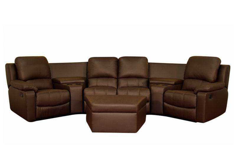Broadway Home Theater Seating Sectional Brown Stargate