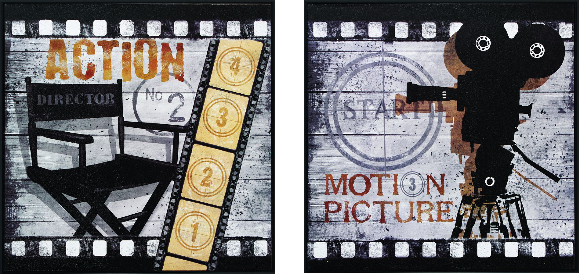 And Big Motion Picture Framed Theater Wall Art Pair