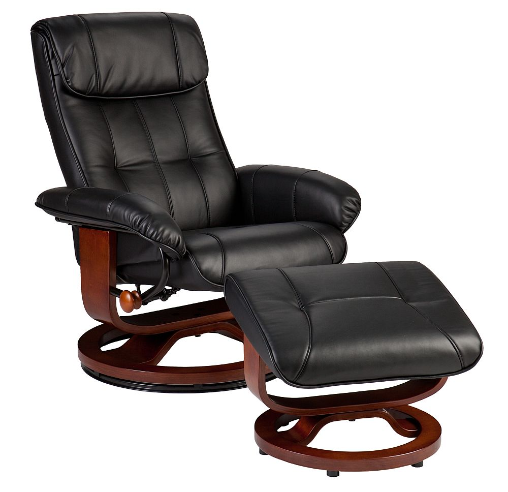 holly martin bryce euro style recliner and ottoman in black