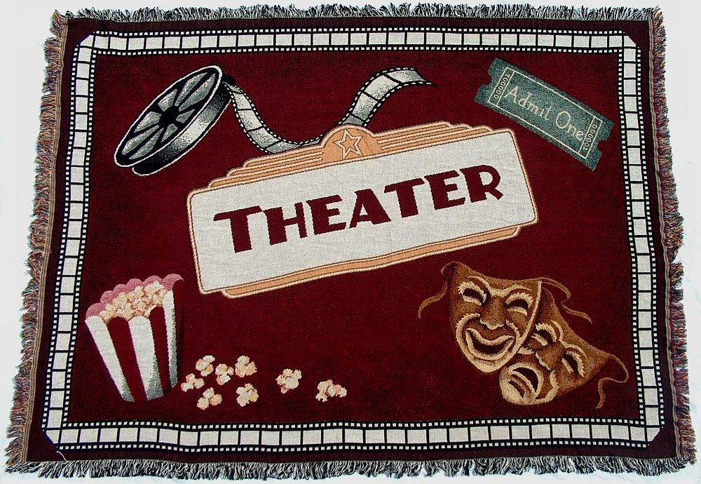 Home Theater Burgundy Throw Blanket Stargate Cinema