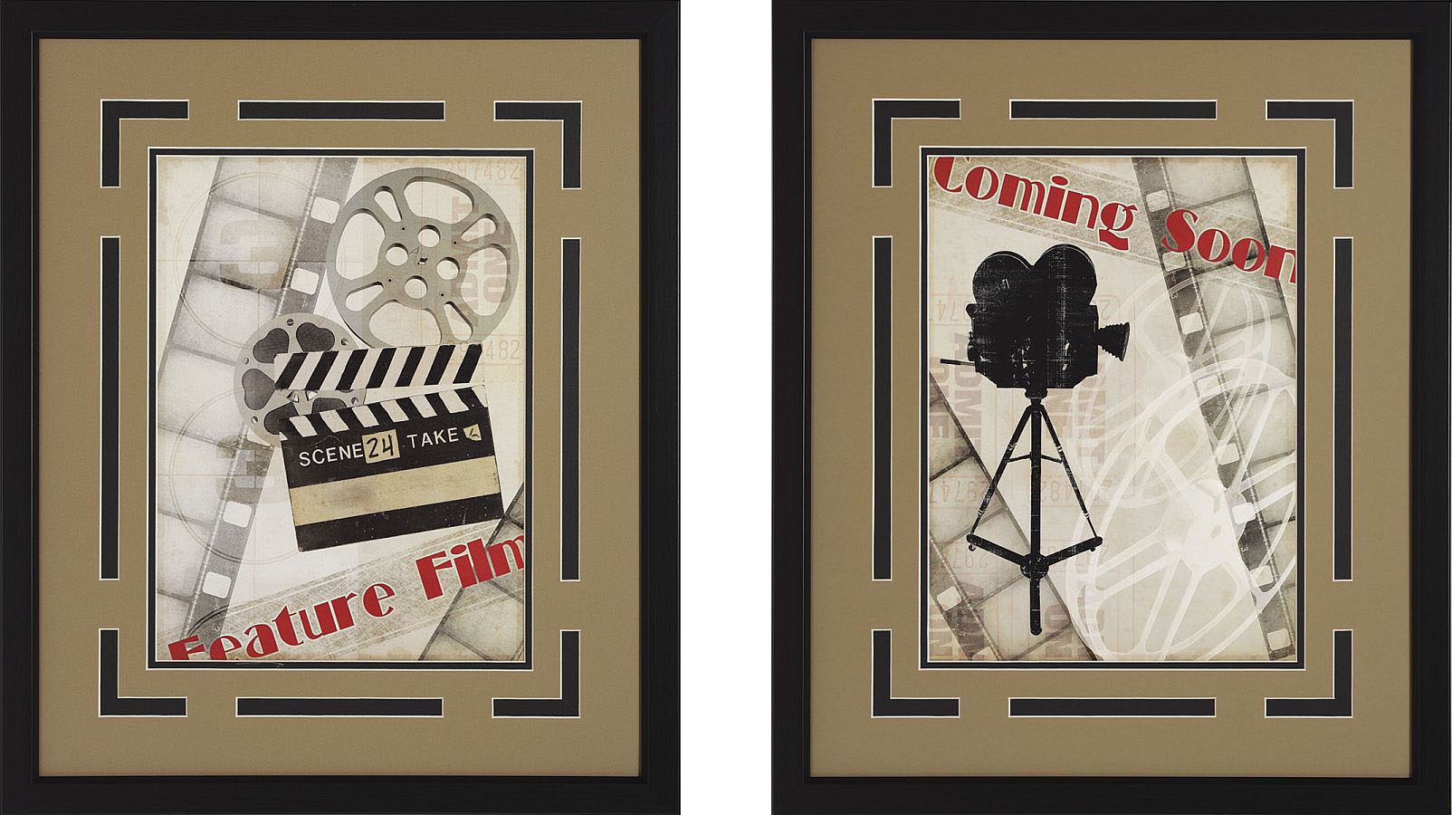"Movie Theater Wall Decor coming soon!"" and movie camera framed theater wall art pair"