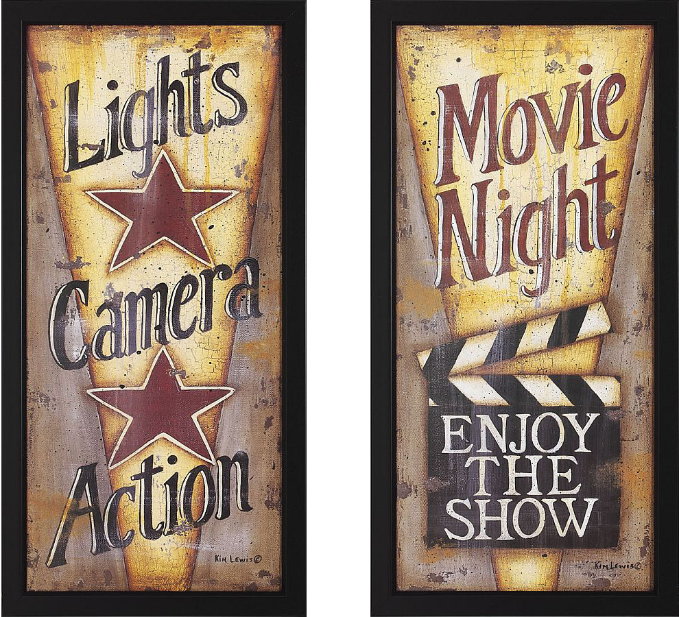 Lights Camera Action And Movie Night Framed Theater Wall Art Pair
