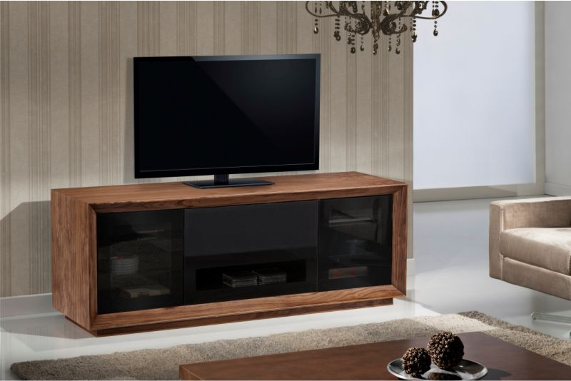 70 Contemporary Tv Stand Media Console For Flat Screen And Audio Video Installations Featuring Contoured Edge Detail With Natural Walnut Veneers