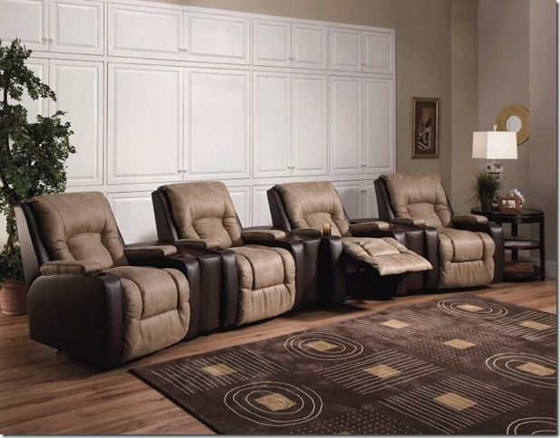 Lane R Home Theater Seating Recliner Special Fabric Match Combo