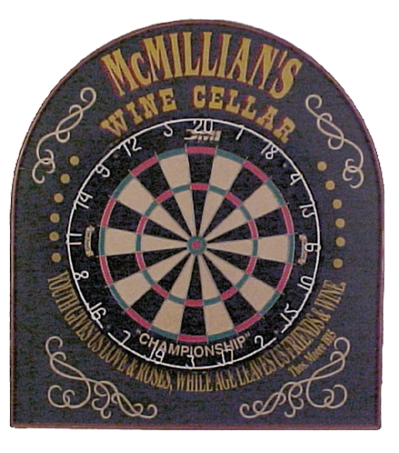 "Personalized Dart Board Sign for ""Wine Cellar"""