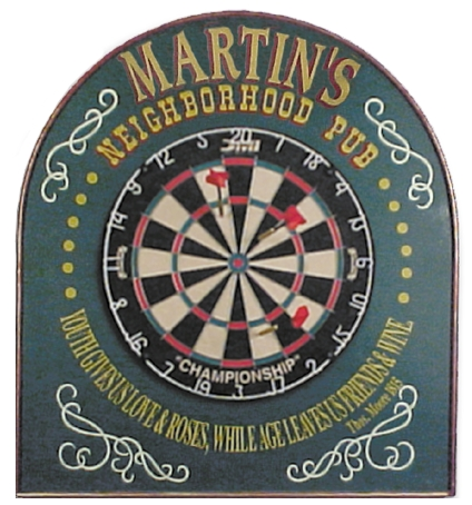 "Personalized Dart Board Sign for ""Neighborhood Pub"""