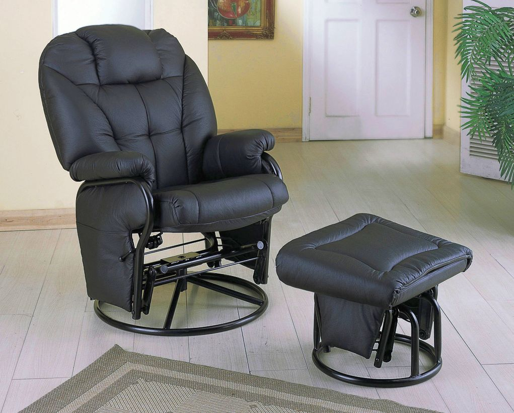 Exceptionnel Coaster Comfort Swivel Glider Chair With Ottoman In Black Model 2644