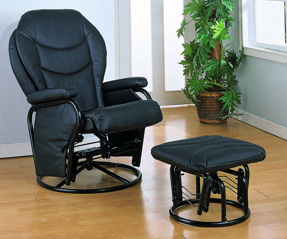 Magnificent Comfort Swivel Glider Chair With Ottoman In Black Stargate Camellatalisay Diy Chair Ideas Camellatalisaycom