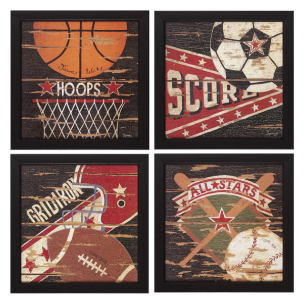 Four Piece Sport Theme Wall Art Set