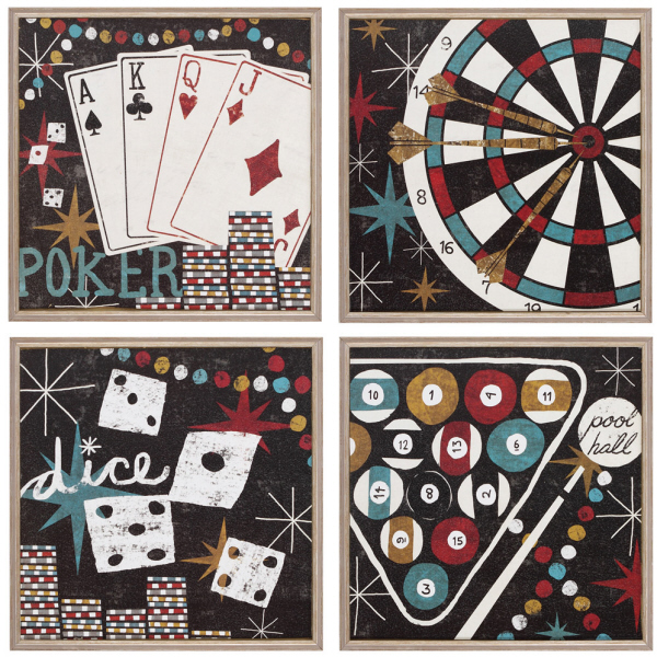 Four Piece Game Room Theme Wall Art Set