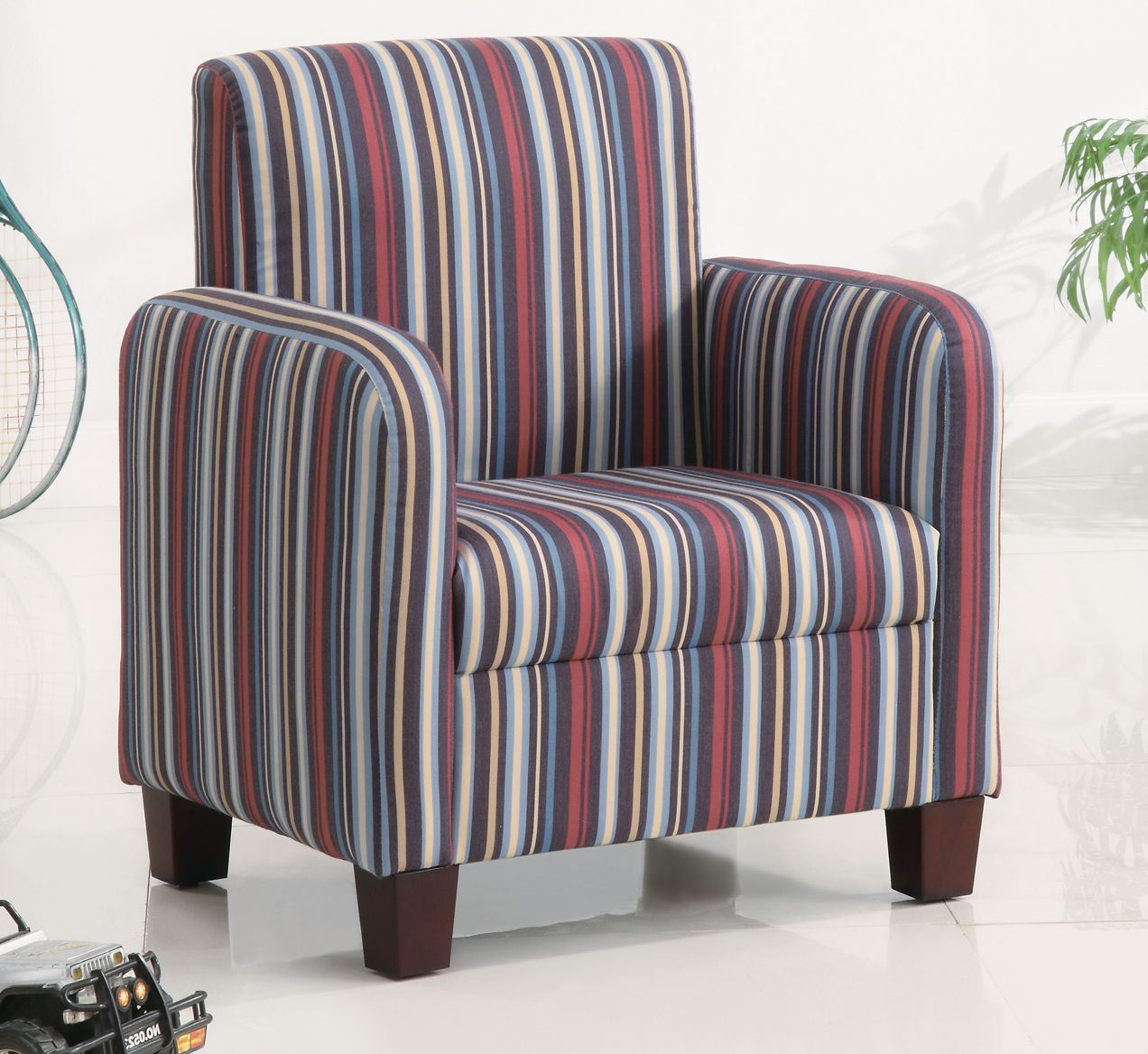 Kids Plush Youth Chair in Classic Stripe