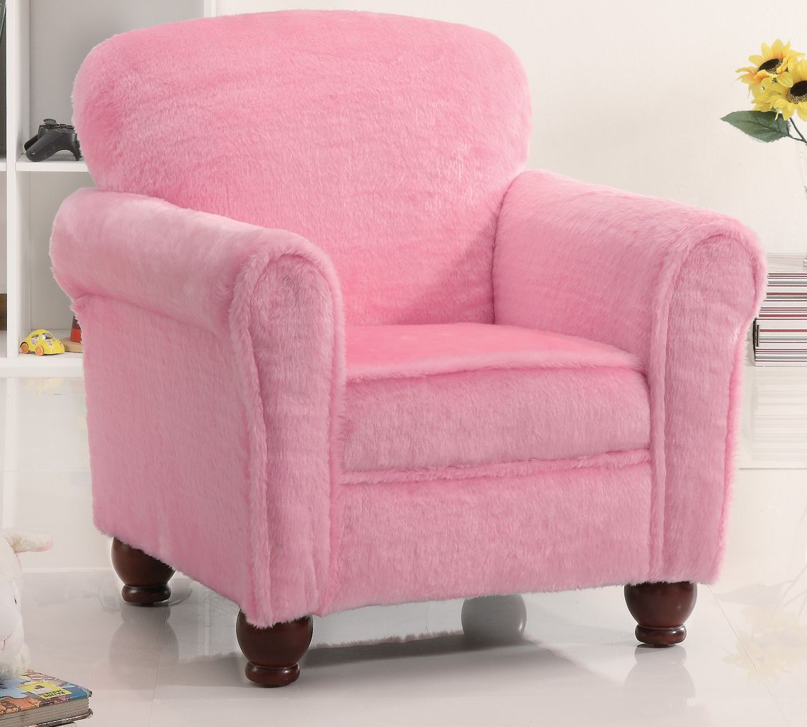 Kids plush youth chair in fuzzy pink stargate cinema for Pink kids chair