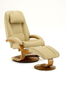 Mac Motion Euro Recliner and Ottoman in Cream Top Grain Leather  (Model 52C)