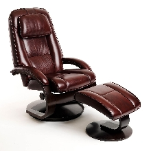 Mac Motion Euro Recliner and Ottoman in Merlot Leather  (Model 52)