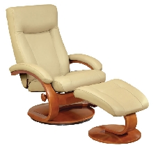 Mac Motion Euro Recliner and Ottoman in Cobblestone Leather  (Model 54)