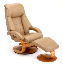 Mac Motion Euro Recliner and Ottoman in Sand Leather (Model 58)
