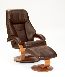 Mac Motion Euro Recliner and Ottoman in Espresso Leather (Model 58)
