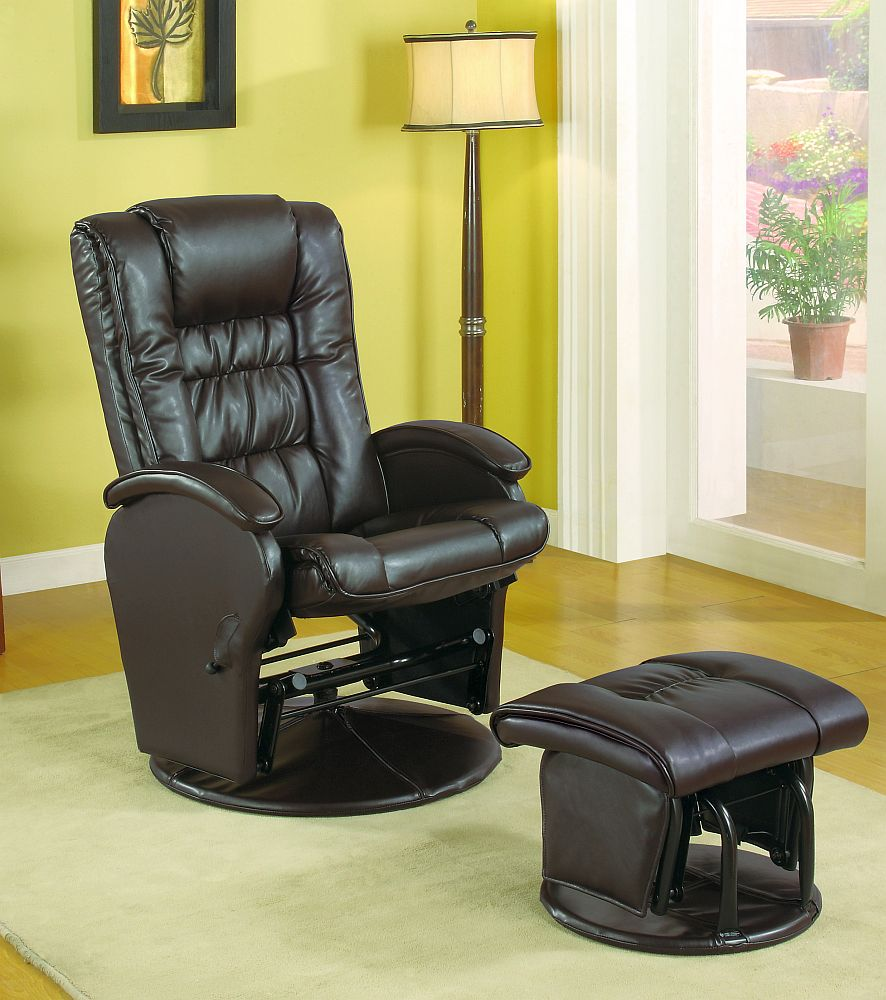 Wondrous Modern Style Swivel Glider Chair With Ottoman In Brown Beatyapartments Chair Design Images Beatyapartmentscom