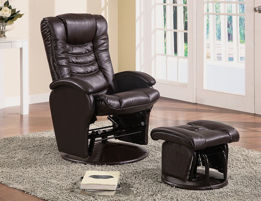 Glider Chair With Ottoman: Modern Style Swivel Glider Chair With Ottoman In Brown