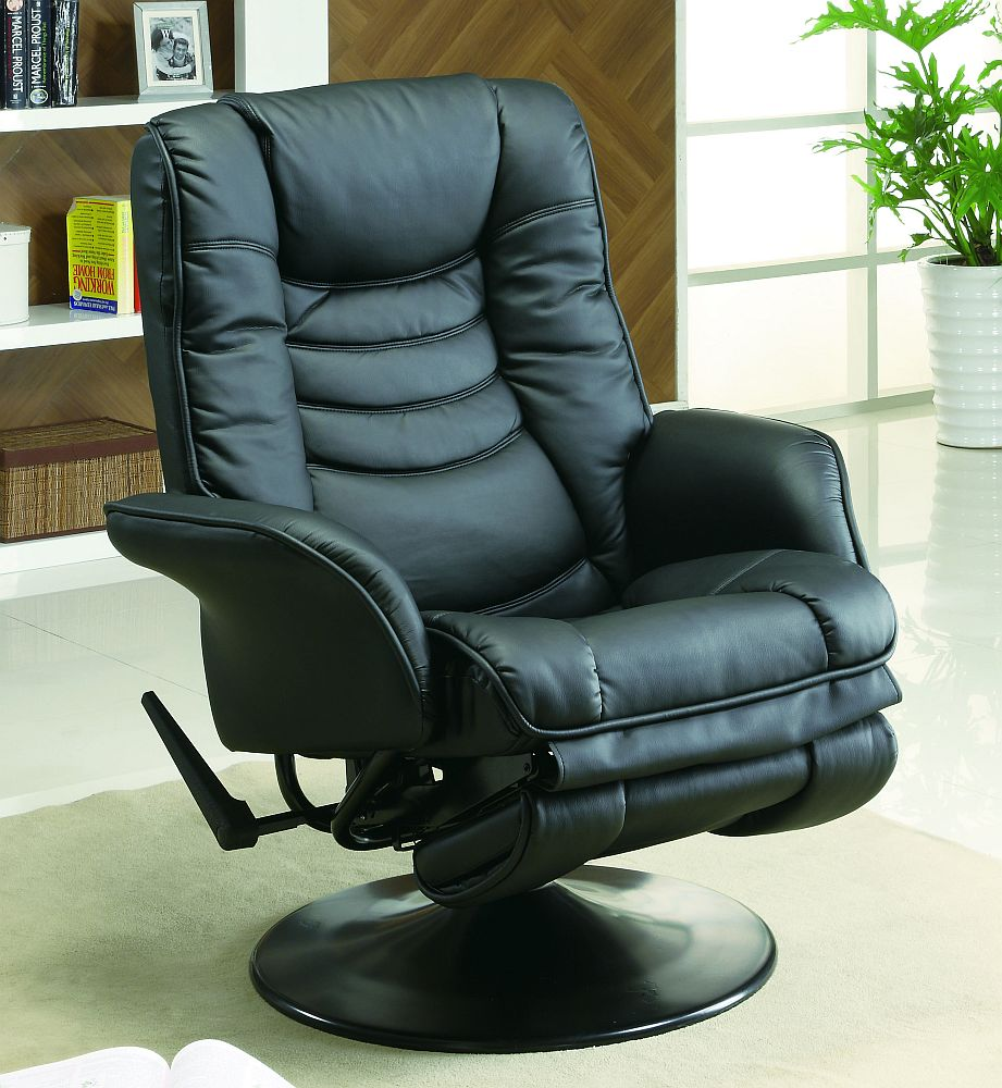 Coaster Euro Style Swivel Chair With Recline In Black Model 600229