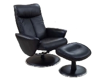 Mac Motion Euro Recliner and Ottoman in Black Bonded Leather (Model 830)