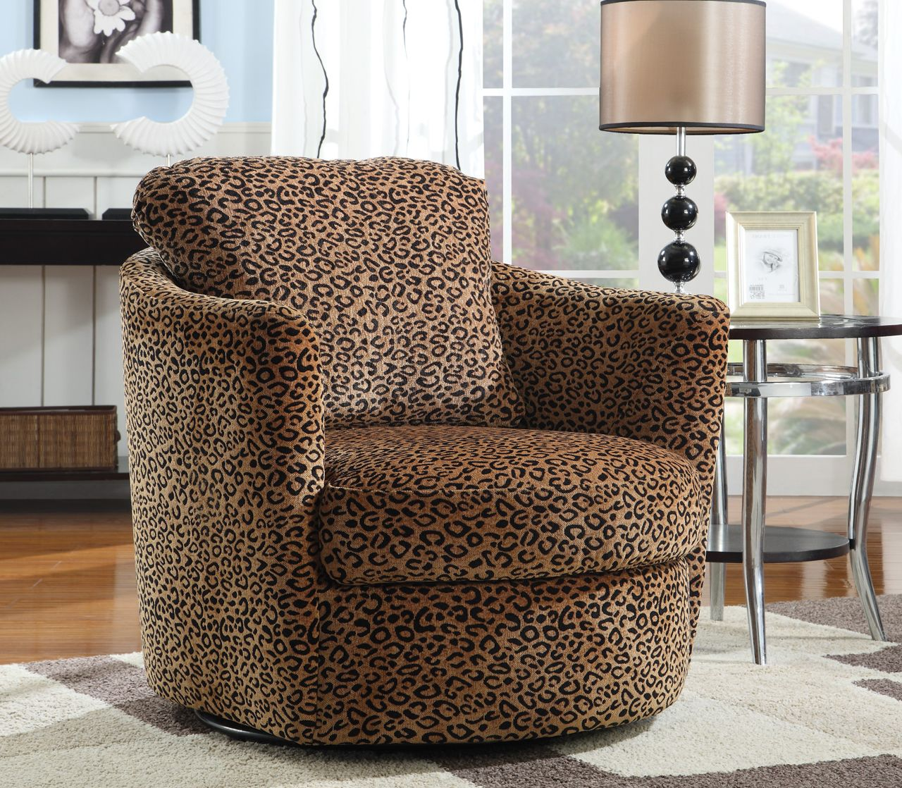 Exceptionnel Coaster Swivel Accent Chair In Leopard Pattern