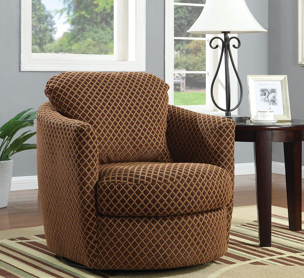 Swivel Accent Chair In Diamond Pattern Stargate Cinema