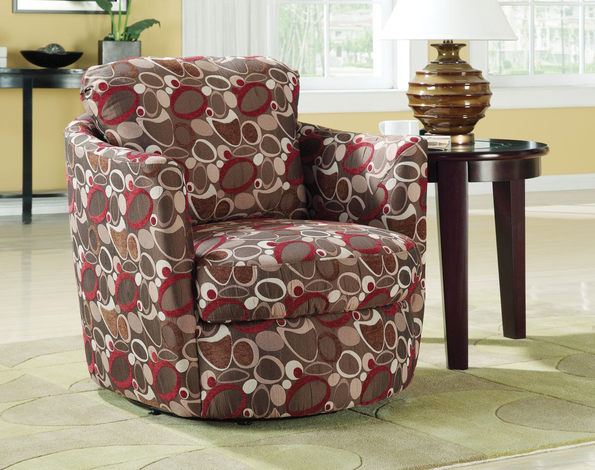 Coaster Swivel Accent Chair in Oblong Pattern