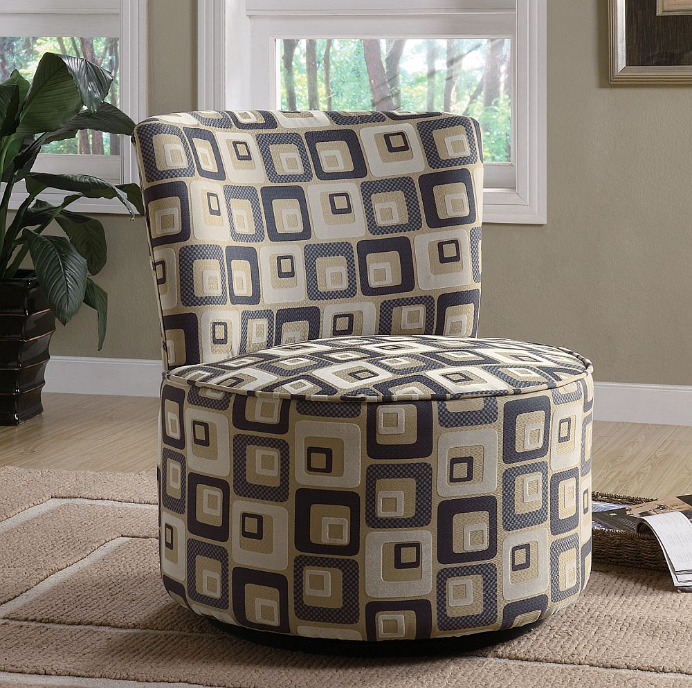 Coaster Swivel Accent Chair with Square Pattern