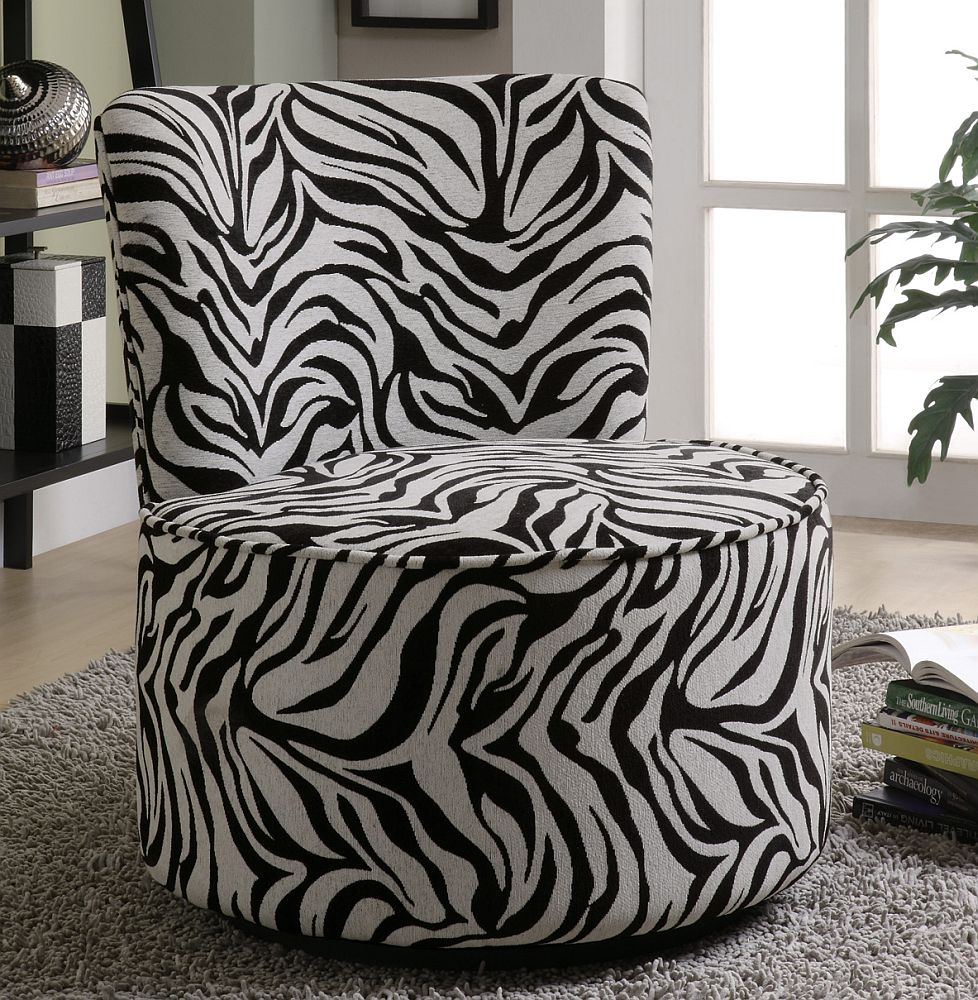 Swivel Accent Chair In Zebra Pattern Stargate Cinema