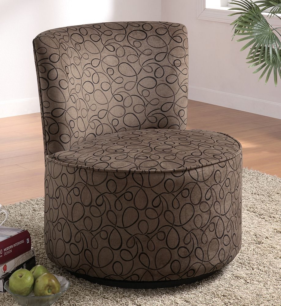 Outstanding Swivel Accent Chair In Swirl Pattern Stargate Cinema Caraccident5 Cool Chair Designs And Ideas Caraccident5Info