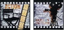 """Action!"" and Big Motion Picture Framed Theater Wall Art Pair"
