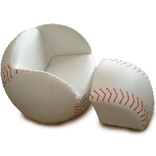 List Price: $259.00; Baseball Upholstered Chair With Ottoman