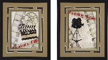 "Super Sale!""Coming Soon!"" and Movie Camera Framed Theater Wall Art Pair"