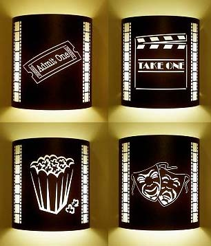 Four Or More Home Theater Sconces With Filmstrips