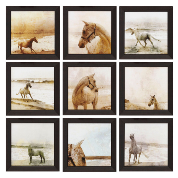 nine piece equestrian framed wall art set