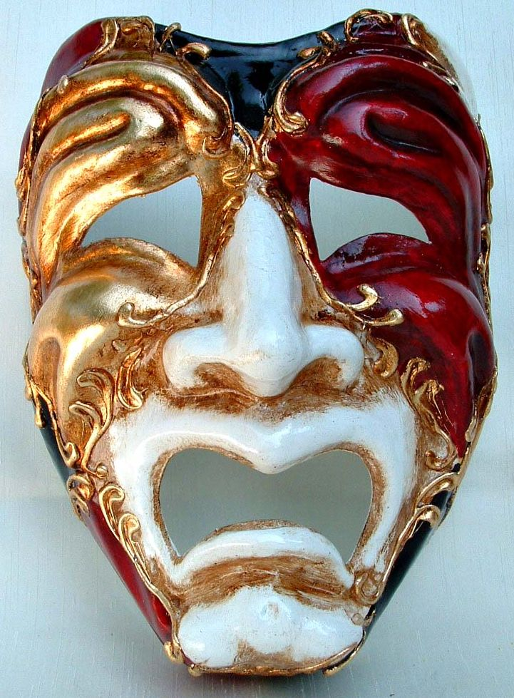 Multi-Color Comedic Tragedy Theater Mask